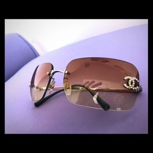 CHANEL Authentic Rhinestone Bronze Pink Sunglasses